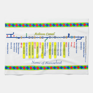 Ashton Canal Route UK Waterways Yellow Tea Towel