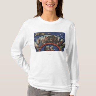 Ashville, North Carolina - Large Letter Scenes T-Shirt