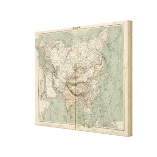 Asia Atlas Map showing political divisions Stretched Canvas Prints