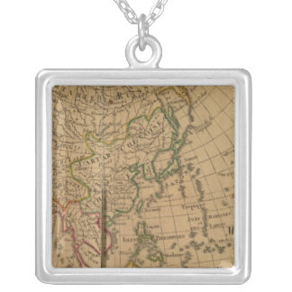 Asia Atlas Map Silver Plated Necklace