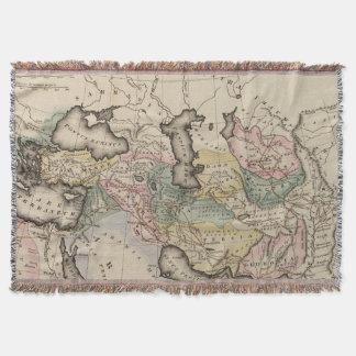 Asia Atlas Map Throw Blanket