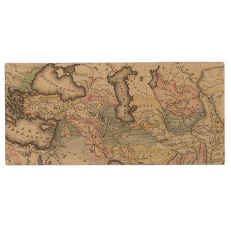 Asia Atlas Map Wood USB Flash Drive