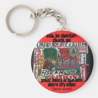 Asia, be christian! art basic round button key ring