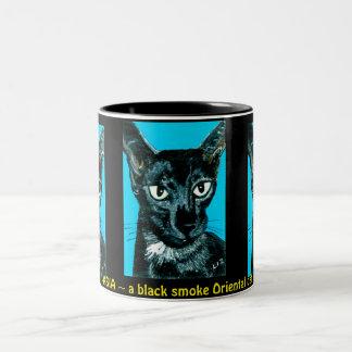 ~Asia ~ black smoke Oriental cat ~ Two-Tone Coffee Mug