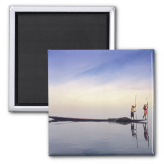 Asia, Burma, (Myanmar) Fishing boat reflected on Square Magnet