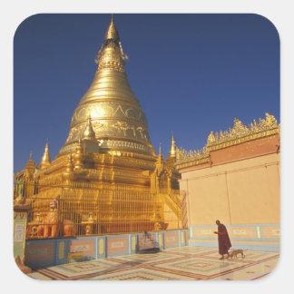 Asia, Burma (Myanmar) Mandalay, Sagaing Hill: Square Sticker