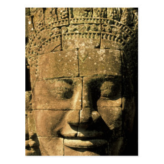 Asia, Cambodia, Siem Reap. Angkor Thom, heads of 2 Postcard