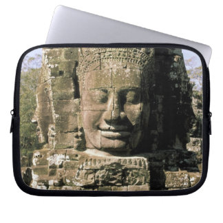 Asia, Cambodia, Siem Reap. Angkor Thom, heads of Laptop Sleeve