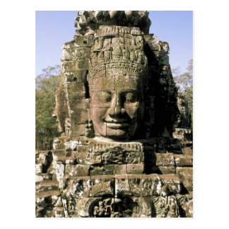 Asia, Cambodia, Siem Reap. Angkor Thom, heads of Postcard