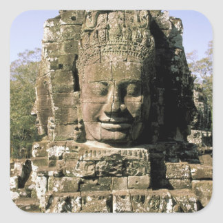 Asia, Cambodia, Siem Reap. Angkor Thom, heads of Square Sticker