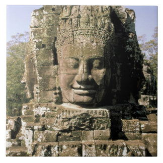 Asia, Cambodia, Siem Reap. Angkor Thom, heads of Tile