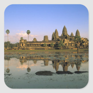 Asia, Cambodia, Siem Reap. Angkor Wat. 2 Square Sticker