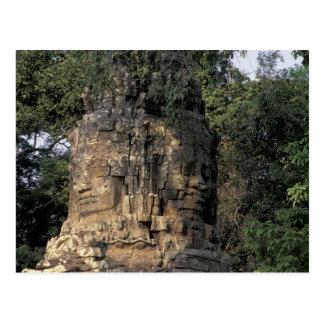Asia, Cambodia, Siem Reap. Huge stone sculptures Postcard