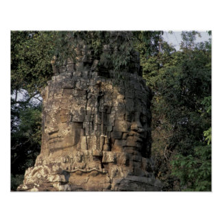 Asia, Cambodia, Siem Reap. Huge stone sculptures Poster