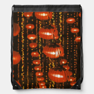 Asia, China, Beijing. Red Chinese lanterns, Drawstring Bag