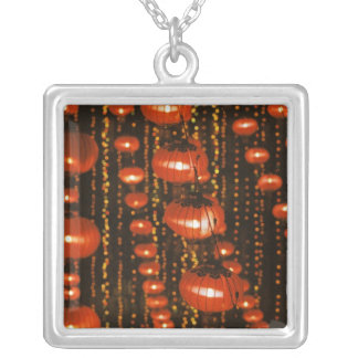 Asia, China, Beijing. Red Chinese lanterns, Square Pendant Necklace