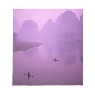 Asia, China, Guanxi, Yangshou. Fishermen on raft Notepad