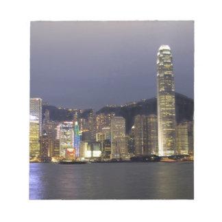 Asia, China, Hong Kong, city skyline and 2 Notepad