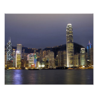 Asia, China, Hong Kong, city skyline and 2 Poster