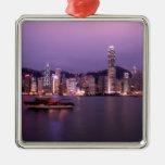 Asia, China, Hong Kong, city skyline and Christmas Tree Ornament