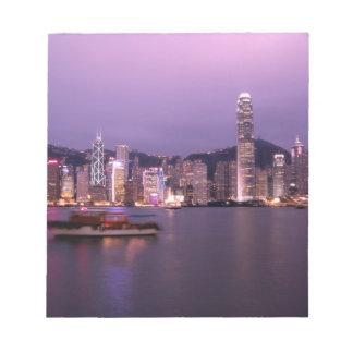 Asia, China, Hong Kong, city skyline and Notepad