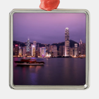 Asia, China, Hong Kong, city skyline and Silver-Colored Square Decoration