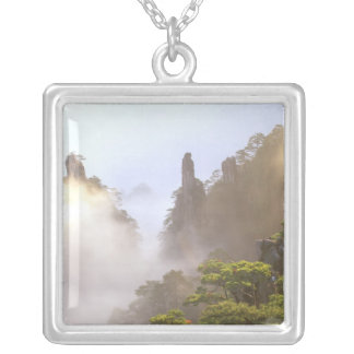Asia, China, Huanshan. The Yellow Mountain in Silver Plated Necklace