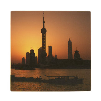 ASIA, China, Shanghai View of Oriental Pearl TV Wood Coaster