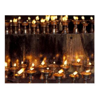 Asia, China, Tibet, Lhasa. Prayer flames, Postcard