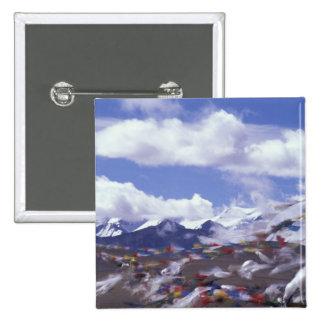 Asia, China, Tibet, Tangla Pass. Prayer flags, 15 Cm Square Badge