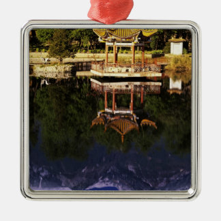 Asia, China, Yunnan, Dali. Cangshan Mountains Silver-Colored Square Decoration