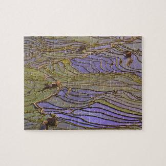 Asia, China, Yunnan Province, Yuanyang. Flooded Jigsaw Puzzle