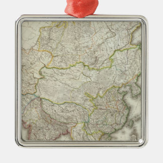 Asia Engraved Map Silver-Colored Square Decoration