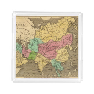 Asia Hand Colored Atlas Map 2 Acrylic Tray