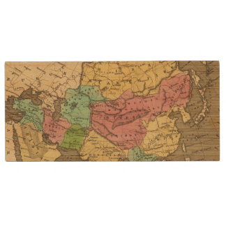 Asia Hand Colored Atlas Map 2 Wood USB 2.0 Flash Drive