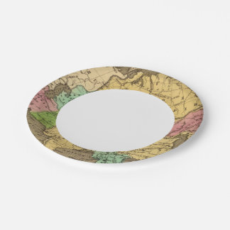 Asia Hand Colored Atlas Map 2 Paper Plate