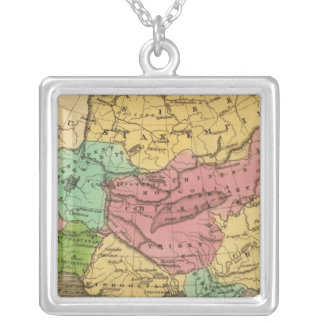 Asia Hand Colored Atlas Map 2 Silver Plated Necklace