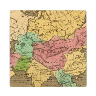 Asia Hand Colored Atlas Map 2 Wood Coaster