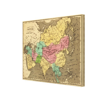 Asia Hand Colored Atlas Map Canvas Print