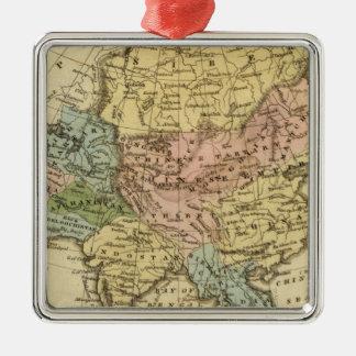 Asia Hand Colored Atlas Map Silver-Colored Square Decoration