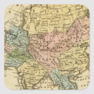 Asia Hand Colored Atlas Map Square Sticker