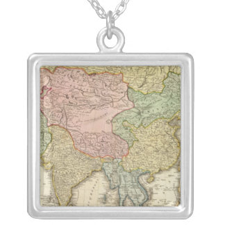 Asia Hand Colored Map Silver Plated Necklace