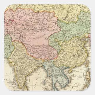 Asia Hand Colored Map Square Sticker