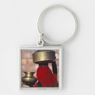 Asia, India, Rajasthan. A local woman in a red Silver-Colored Square Key Ring