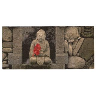Asia, Indonesia, Bali. A shrine of Buddha Wood USB Flash Drive