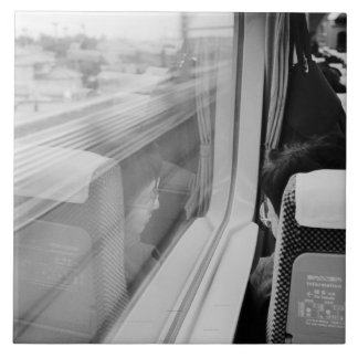 Asia, Japan. Aboard the Shinkansen Bullet Train Tile