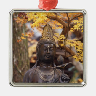 Asia, Japan, Buddha Silver-Colored Square Decoration