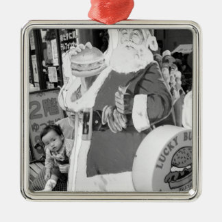 Asia, Japan, Hakodate. Santa Claus in Japan Silver-Colored Square Decoration