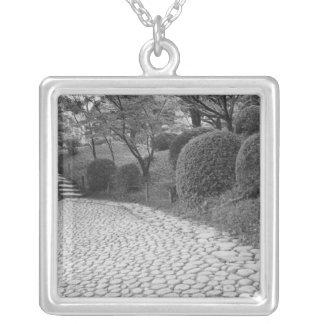 Asia, Japan, Hiroshima. Shukkei, en Garden Silver Plated Necklace