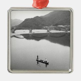 Asia, Japan, Iwakuni. Fishermen and historic 2 Silver-Colored Square Decoration